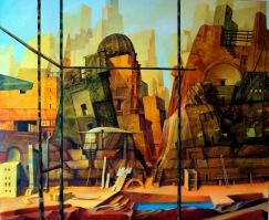 Babel,Dubai, Schilda: Ölbild von Georg Fenkl (Foto: Arnold)