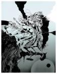 Apocalyptic Friends: Glaszeichnung von Florian L. Arnold.