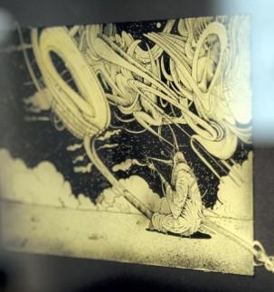 Sounds of Space: Glaszeichnung von Florian L. Arnold (Detail)
