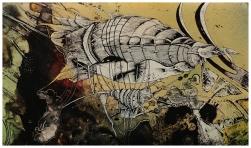 Raumschiff: Zeichnung aus Glas von Florian L. Arnold.